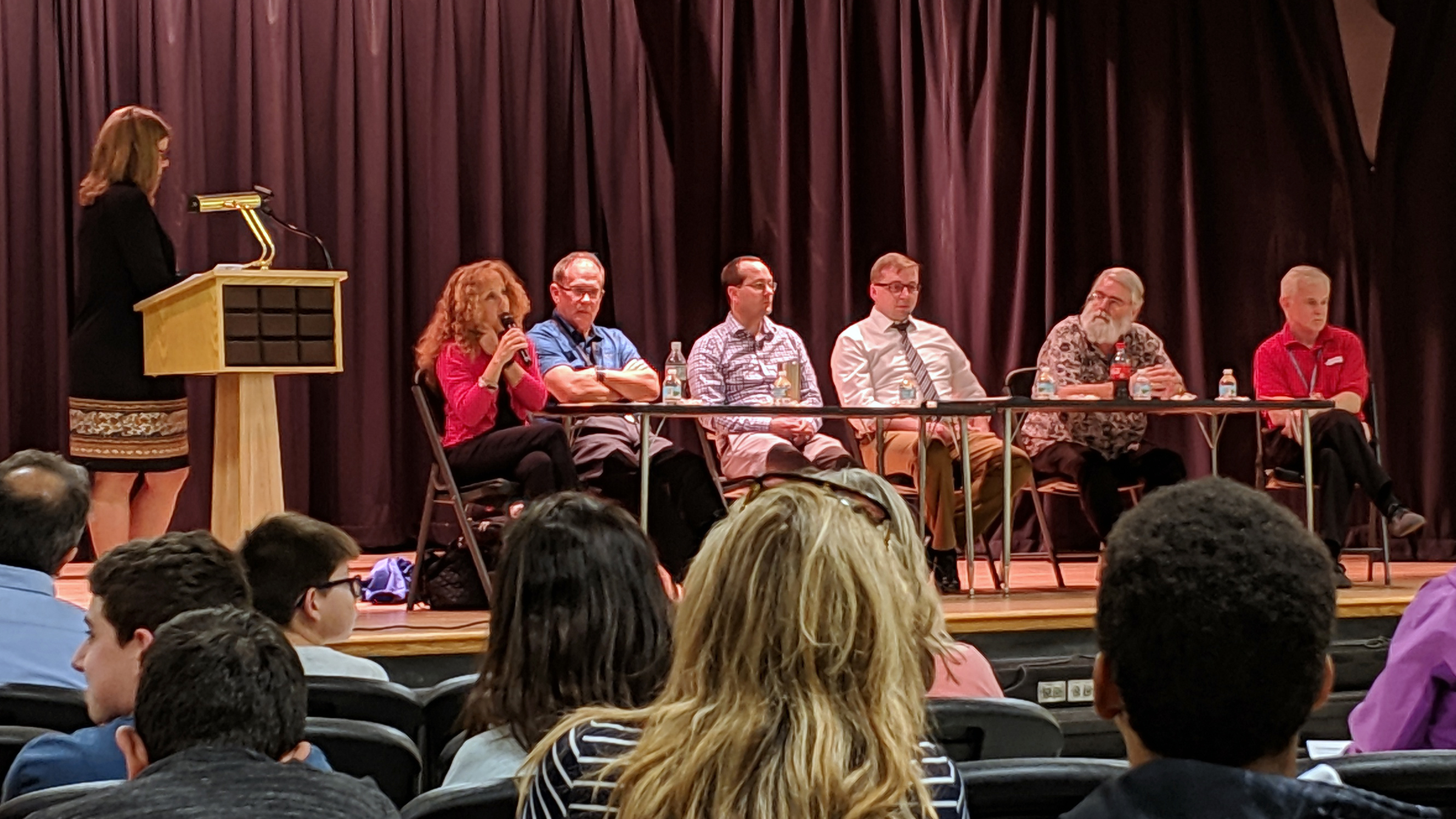 Representatives from Broward County Public Schools, the University of Florida, Florida Atlantic University, and EMF Math address questions from Broward's EMF Math students and their parents.